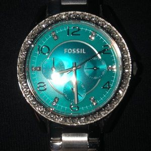 Silver band/aqua face fossil watch